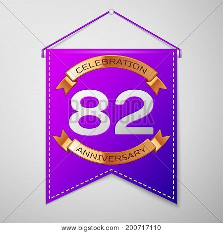 Realistic Purple pennant with inscription Eighty two Years Anniversary Celebration Design on grey background. Golden ribbon. Colorful template elements for your birthday party. Vector illustration