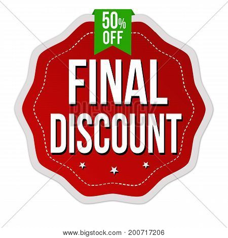 Final discount label or sticker on white background vector illustration