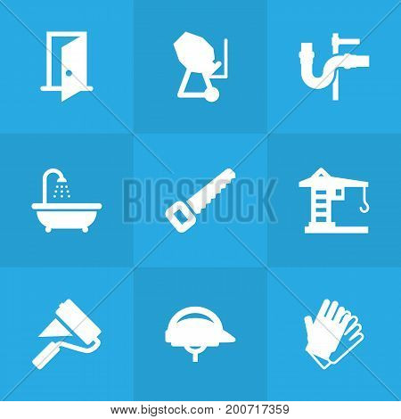 Collection Of Bathroom, Gauntlet, Cement Machine And Other Elements.  Set Of 9 Construction Icons Set.