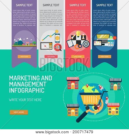 Marketing and Management Infographic | Use for business, marketing, management, technology and much more. The set can be used for several purposes   like: websites, print templates, presentation templates, promotional materials, info.