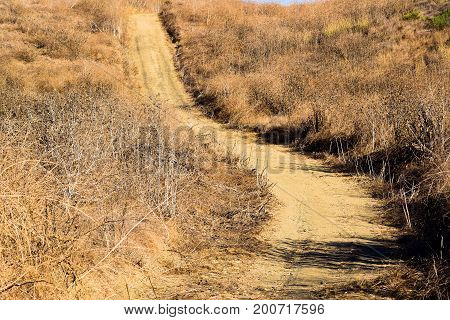 Trail thru a barren and arid landscape caused from a drought taken in the Whittier Hills, CA