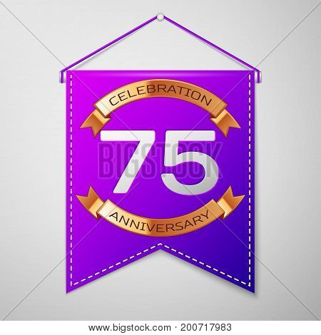 Realistic Purple pennant with inscription Seventy five Years Anniversary Celebration Design on grey background. Golden ribbon. Colorful template elements for your birthday party. Vector illustration