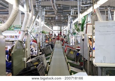 MOSCOW, RUSSIA - FEBRUARY 21, 2017: Moscow shoe factory JSC RALF RINGER . The main conveyor of the sewing workshop.