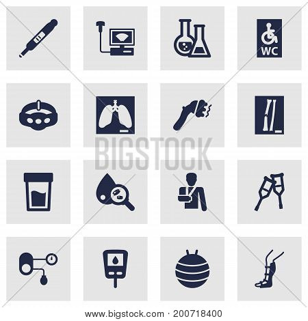 Collection Of Machine, Slimming, Blood Analysis And Other Elements.  Set Of 16 Medical Icons Set.