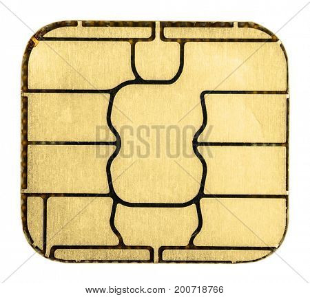 Credit card chip. Extreme macro. Isolated on white