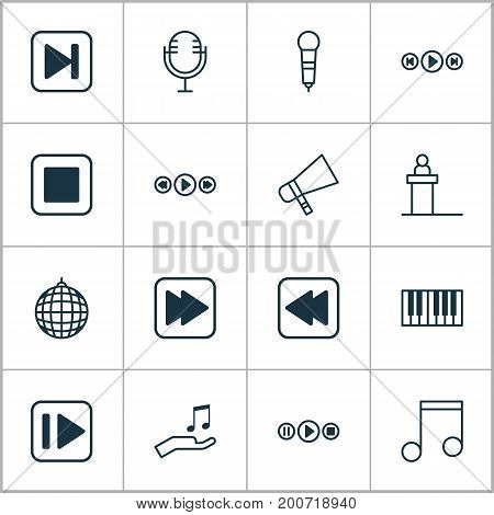 Audio Icons Set. Collection Of Note, Rewind Back, Microphone And Other Elements