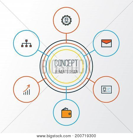 Job Colorful Outline Icons Set. Collection Of Network, Id Badge, Purse And Other Elements