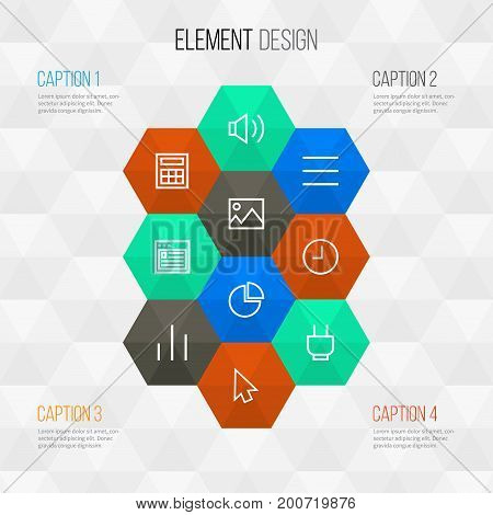 Interface Outline Icons Set. Collection Of List, Diagram, Sound And Other Elements
