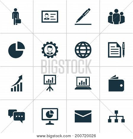 Job Icons Set. Collection Of Presentation Board, Group, Increasing And Other Elements