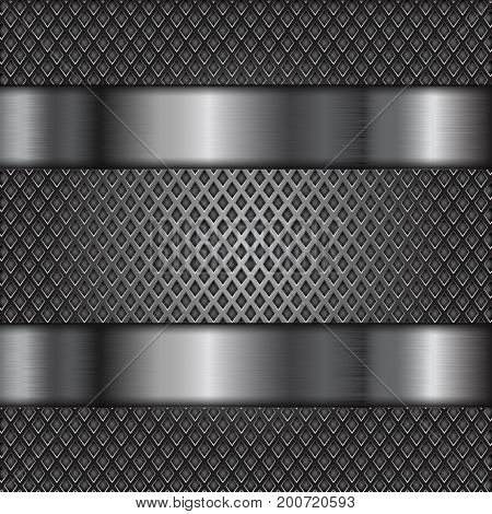 Metal perforated background with shiny stainless steel plates. Vector 3d illustration