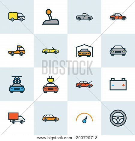 Auto Colorful Outline Icons Set. Collection Of Machine, Sport, Level And Other Elements