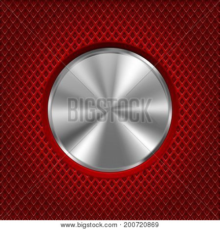Metal round button on red stainless steel perforated background. Diamond shape holes. Vector 3d illustration