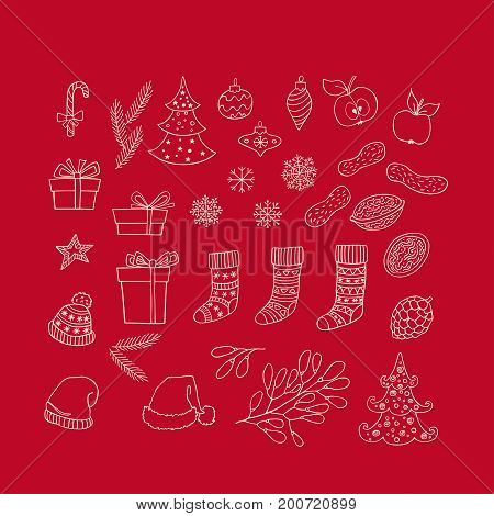 Collection of Christmas and New Year hand drawn clipart on red background. Vector holiday design elements for greeting card invitation pattern.