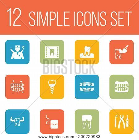 Collection Of Instruments, Healthful, Orthodontist And Other Elements.  Set Of 12 Teeth Icons Set.