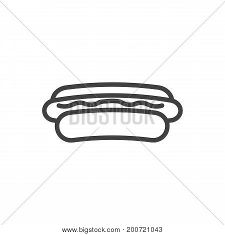 Vector Hotdog Element In Trendy Style.  Isolated Sausage Outline Symbol On Clean Background.