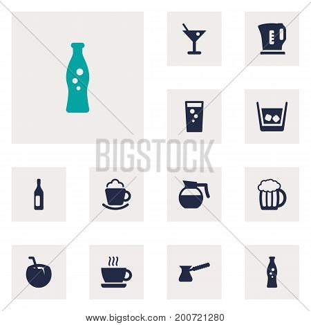 Collection Of Cream, Martini, Fizzy Water And Other Elements.  Set Of 12 Drinks Icons Set.