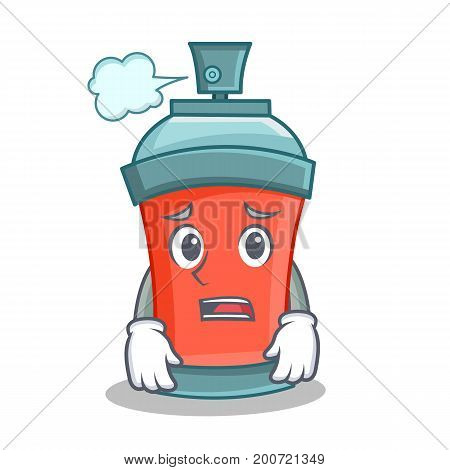 Afraid aerosol spray can character cartoon vector illustration