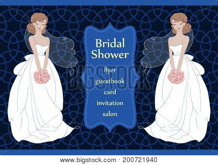 Hand drawn beautiful bride with a flower bouquet. Bridal shower invitation template. Wedding fashion vector Illustration.