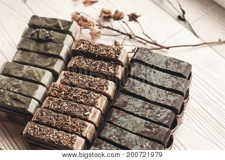 Natural Soap. Handmade Herbal Soap With Wildflowers, Healing Flowers, Mint, Dried Lavender. Eco Natu