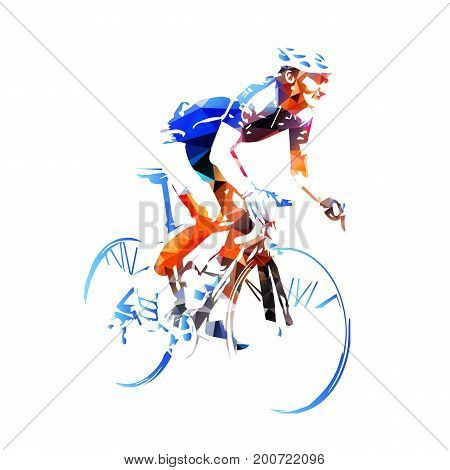 Road cyclist abstract geometric vector silhouette, cycling
