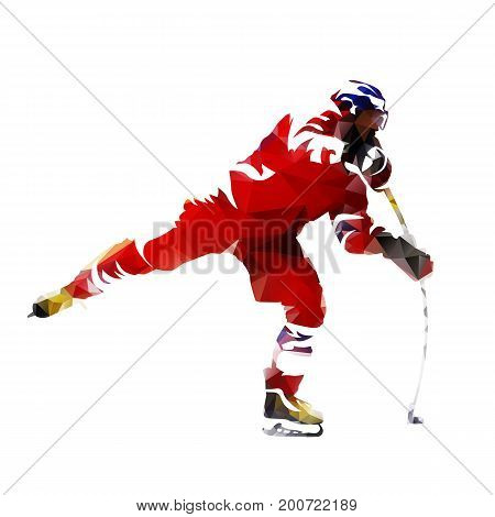 Polygonal ice hockey player abtract vector silhouette