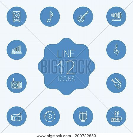 Collection Of Stringed, Note, Audio Level And Other Elements.  Set Of 12 Music Outline Icons Set.
