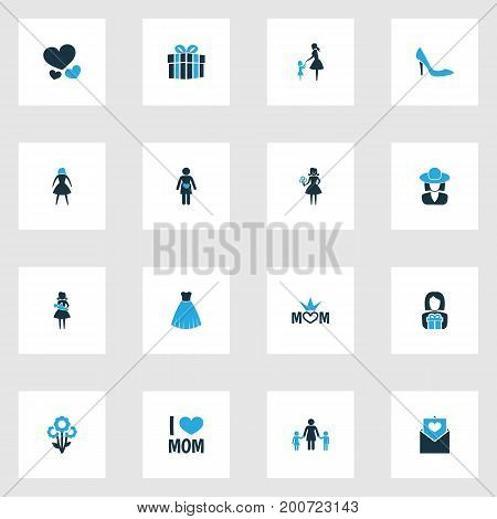 Mothers Day Colorful Icon Design Concept. Set Of 16 Such Elements As Family, Parcel And Dress