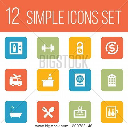 Collection Of Check In, Transportation, Currency And Other Elements.  Set Of 12 Motel Icons Set.
