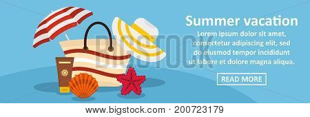 Summer vacation banner horizontal concept. Flat illustration of summer vacation banner horizontal vector concept for web
