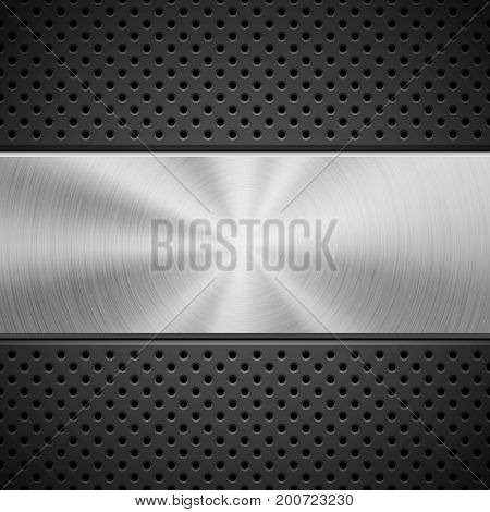 Black abstract technology background with seamless circle perforated pattern, speaker grill texture and metal circular polished, brushed concentric texture, chrome, steel, silver. Vector illustration.