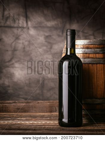 Red Wine Bottle In The Cellar