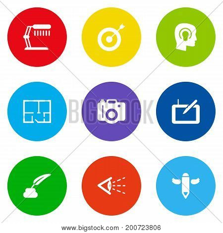 Collection Of Arrow, Look, Gadget And Other Elements.  Set Of 9 Constructive Icons Set.