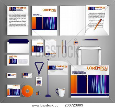 Striped corporate identity template design with colorful lines. Business set stationery.