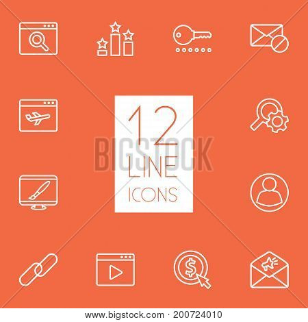 Collection Of Advertising, Url, Video Marketing And Other Elements.  Set Of 12 Optimization Outline Icons Set.