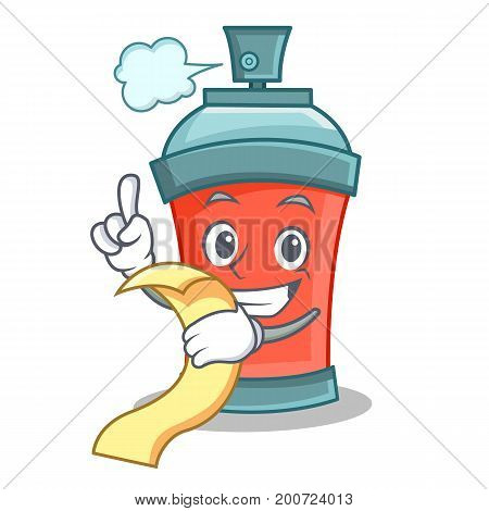 aerosol spray can character cartoon with menu vector illustration