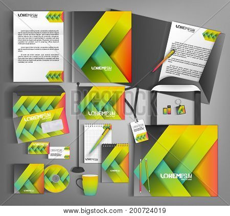 Corporate identity template design with colorful lines. Business set stationery.