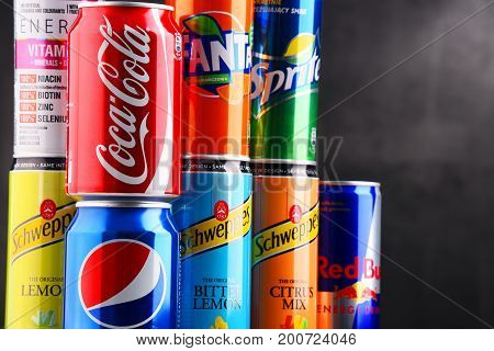 Cans Of Assorted Global Soft Drinks