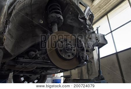 View of brakes disks and shock absorbers of a car