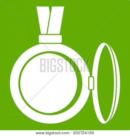 Medallion icon white isolated on green background. Vector illustration