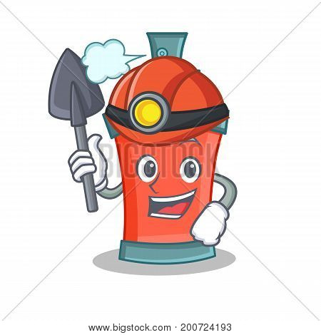 Miner aerosol spray can character cartoon vector illustration