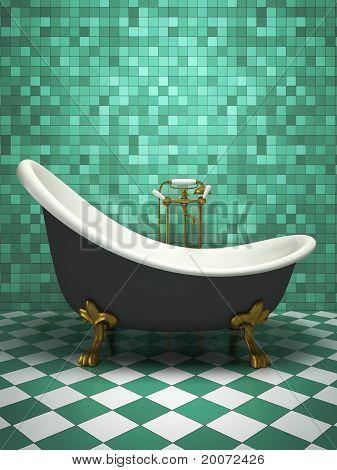 Modern Interior Of The Turquoise Bathroom