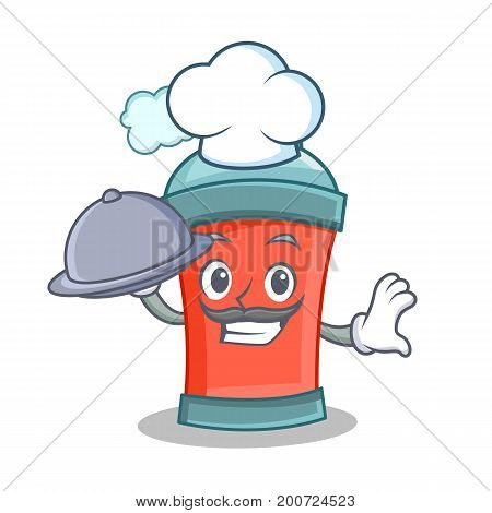 Chef with food aerosol spray can character cartoon vector illustration