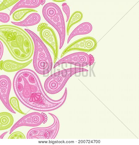 Paisley pink and green vector background,  floral abstract design pattern, indian art ornament.