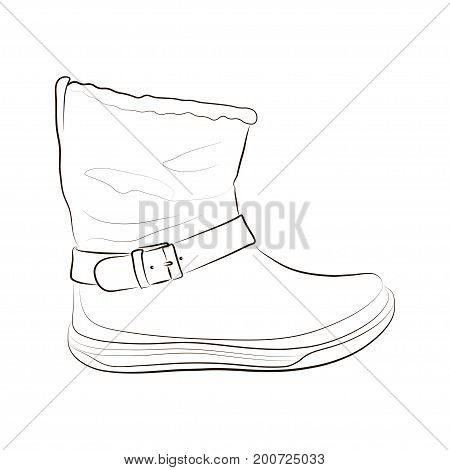 Sketch of a women's winter boot. Vector illustration.