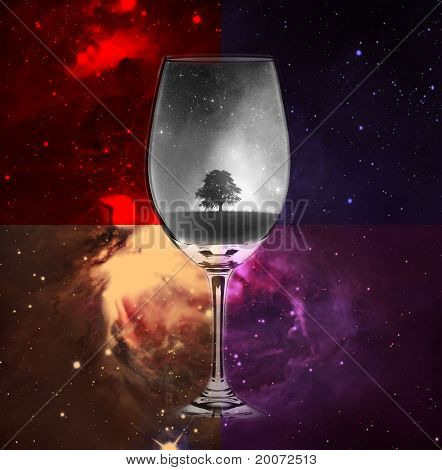 Beautiful abstract cup into te space with the one special tree. poster