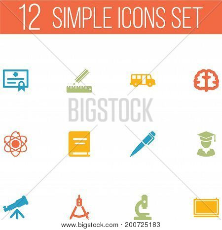 Collection Of Microbiology, School Autobus, Diplomaed Male And Other Elements.  Set Of 12 Education Icons Set.