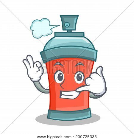 Call me aerosol spray can character cartoon vector illustration