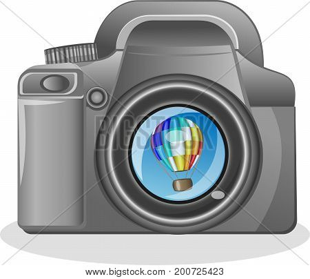 SLR camera on a white background with the reflection of the Vector illustration