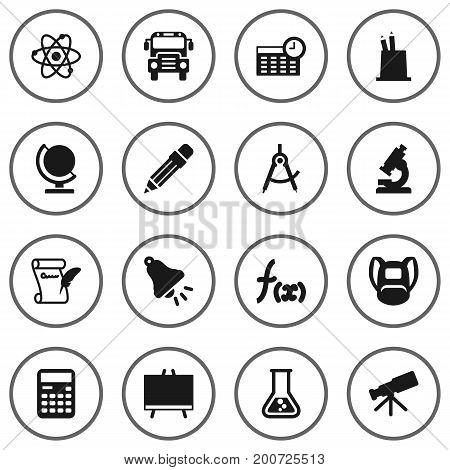 Collection Of Telescope, Flask, Geometry And Other Elements.  Set Of 16 Education Icons Set.