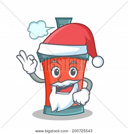 Santa aerosol spray can character cartoon vector illustration